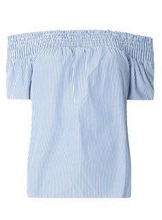 Blue Tie Back Stripe Bardot Top