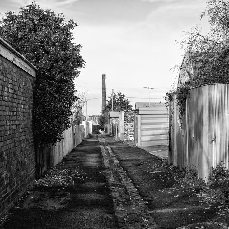 Yard.  The final suburban street on the trail has a couple of houses only and a yard. The chimney on the distance used to belong to a carpet manufacturer, but is now part of the Little Creatures Brewery.  Bellarine Rail Trail, Vic. Australia. Words & Image: © Gary Light (2017). Creative Commons: (CC BY-NC-ND 4.0).  #photography #nature #landscape #walking #trails #victoria #australia