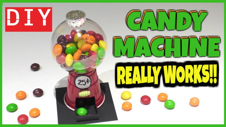 Easy DIY mini candy machine that works! Candy crafts for kids - Plastic cup and ball ornament crafts.