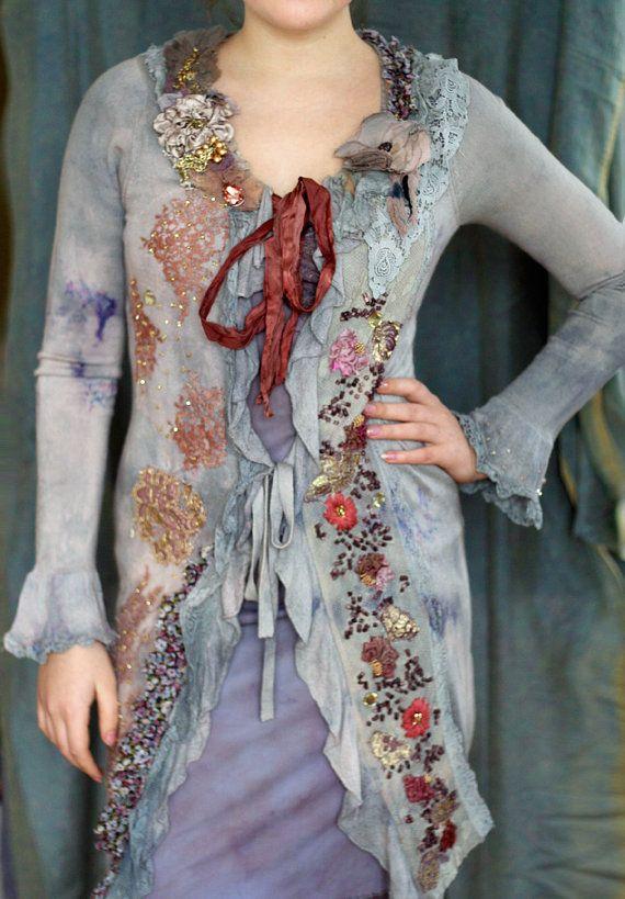1700- romantic textile art jacket, hand embroidered details, silk , antique laces, mohair blend