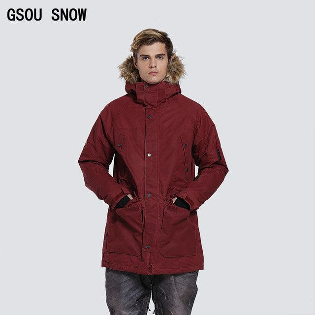 Gsou Snow winter ski snowboard jacket men insulated snow suit black warm waterproof