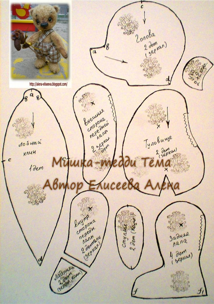 alena-eliseeva.blogspot.ru  По многочисленным просьбам делюсь выкройкой моего мишки Тёмы: А это веселая компания братиков и сестричек, отшитых по этой выкройке на…