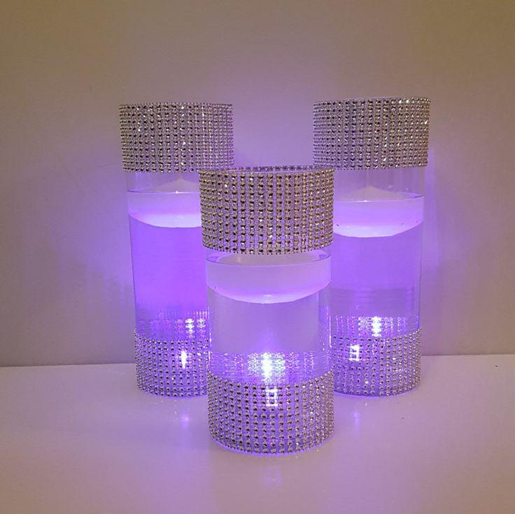 Wedding Centerpiece, Purple Decor, LED Centerpiece, Rhinestone Vases, Floating Candle Centerpiece, Silver Vases, Birthday Party, Graduation, by LuxuryByLexi on Etsy