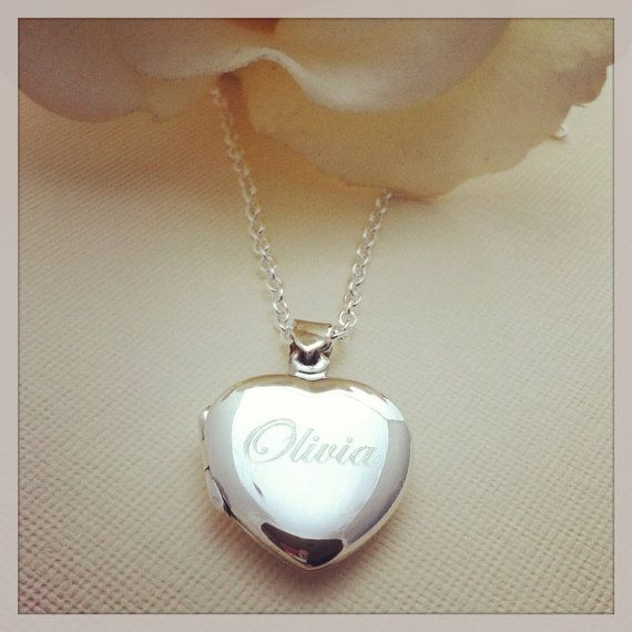 Little Girls Personalized Name Engraved Keepsake Sterling Silver Heart Locket Necklace New Baby Baptism Gift