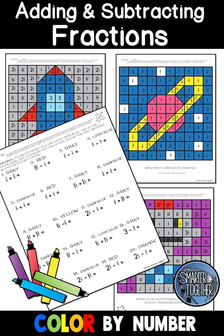 Adding And Subtracting Fractions Color By Number Subtracting Fractions Adding And Subtracting Fractions Adding And Subtracting Adding and subtracting color by number