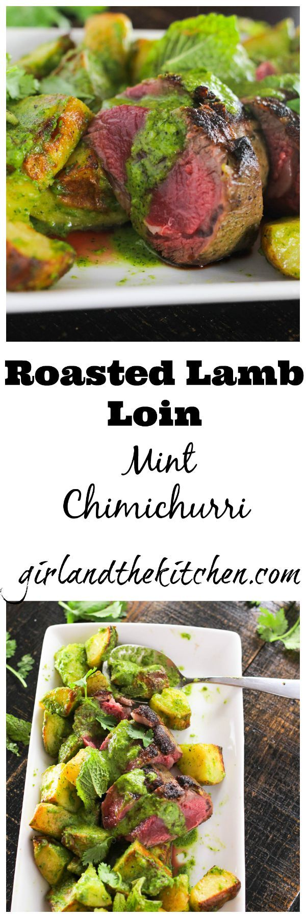 A simple and elegant one pan roasted lamb and potato recipe cooked to perfection and drizzled with an herb infused chimichurri.