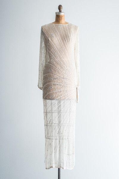 Vintage Bride ~ GOSSAMER 1980's Beaded Bridal Gown ~ [vintagebridemag.com.au]