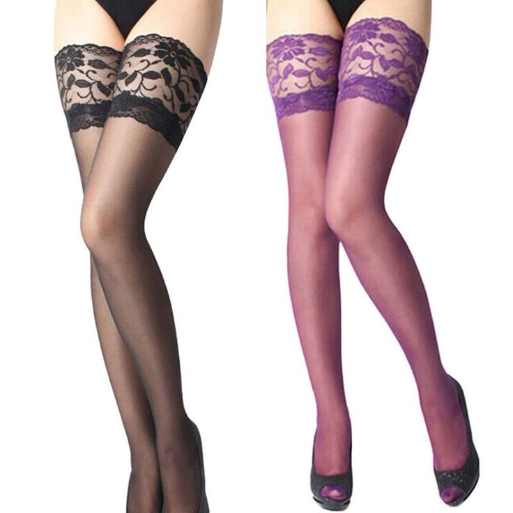 Women Ladies Stockings Sexy Lace Sheer Floral Top Thigh High Stockings Pantyhose