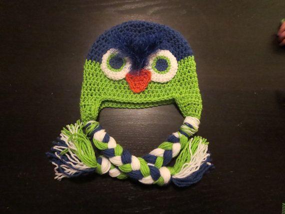 Seahawks, owl, character hat, crochet, kids, teens, adults, knit