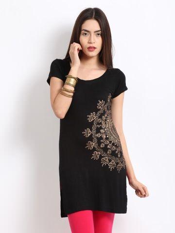 Black indian kurti for short petite women suits sarees for Myntra t shirt design