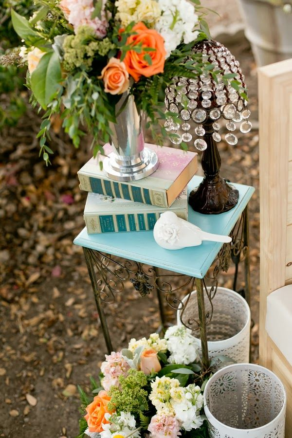 Peach & tiffany blue shabby chic wedding  |  The Frosted Petticoat