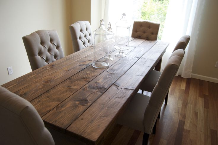 Wide Plank reclaimed lumber farm table. I'd stain Mahogany, slip cover those chairs in crisp white linen, and hang a beautiful, large chandelier in the center. Farmhouse Table (Rustic Table) | Do It Yourself Home Projects from Ana ...
