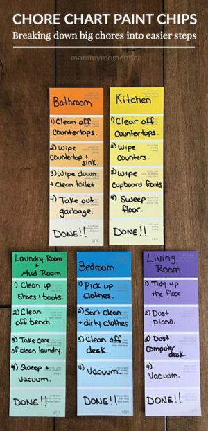 Chore Chart Paint Chips. Kids can sometime get overwhelmed by the tast of chores such as cleaning their room. Breaking down big chores into easier steps for kids.