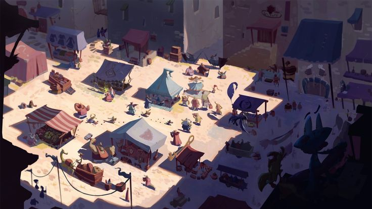 Marketplace, Slawek Fedorczuk on ArtStation at https://www.artstation.com/artwork/marketplace-f8fa6d5b-8e73-47fa-8278-ba8a7d93dbeb