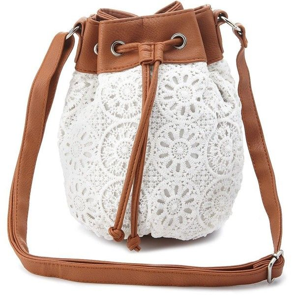 Charlotte Russe White Crochet Cross-Body Bucket Bag by Charlotte Russe... found on Polyvore