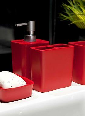 Sleek red resin accessories - Bathroom Accessories | Simons