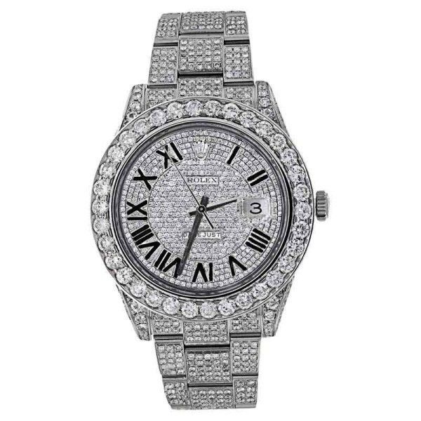 Rolex Datejust II Full Iced Out 30ct Diamond Mens 41mm Watch (£33,325) ❤ liked on Polyvore featuring men's fashion, men's jewelry, men's watches, mens diamond watches, rolex mens watches, mens watches and mens watches jewelry