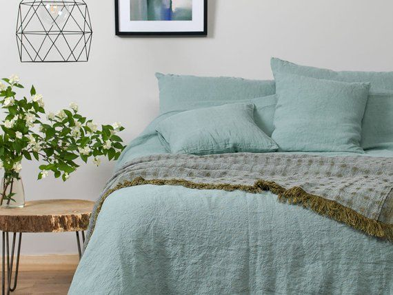 Pure Linen Duvet Cover Blue 100 Linen Flax Bedding Raw Natural