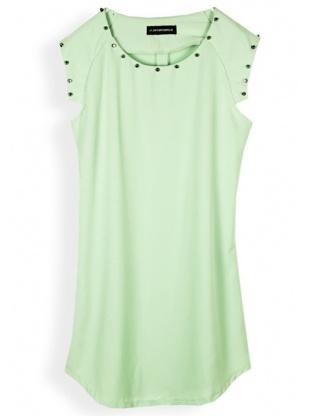green short sleeve round neck polyester dress