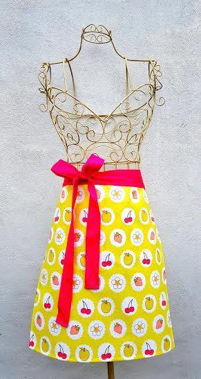 SUMMER FRUITS APRON Lime Polka Dots Vinyl Pvc Oilcloth Floral Cherry Strawberry Lemon Pink Herringbone Webbing Handmade Birthday Gift