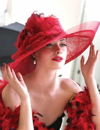 Ladies Tea Party Hats- Red Louise Green Flaming Beauty Hat