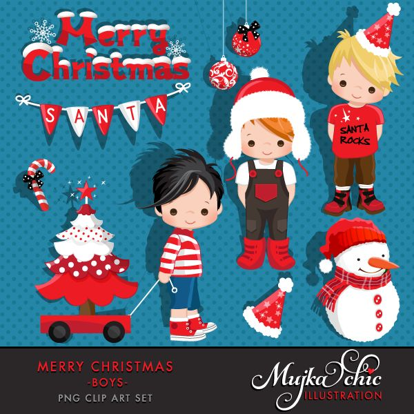 Merry Christmas Clipart Boys Clipart Instant Download Christmas Graphics
