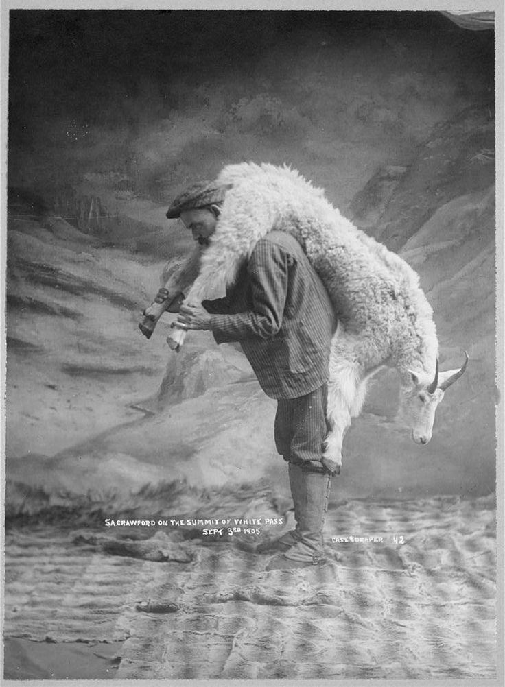 """""""S Crawford on the Summit of White Pass, Sept. 3rd, 1905"""". Summit reproduced in the studio"""