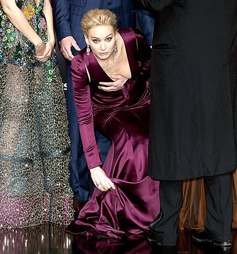 Jennifer Lawrence avoids a wardrobe malfunction on November 4, 2015.