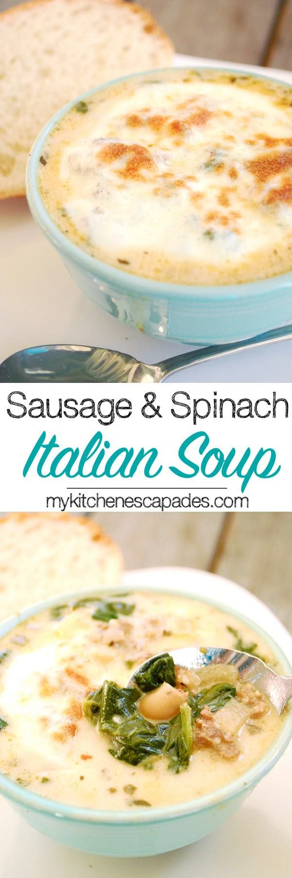 This yummy Sausage and Spinach Italian Soup to fill you up! Loaded with Italian sausage, cannellini beans, spinach and potatoes.