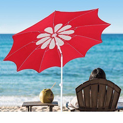 #beachaccessoriesstore Ammsun 2017 7ft Beach Patio Heavy Duty Umbrella 10 panels deluxe flower design with Tilt UPF… #beachaccessoriesstore