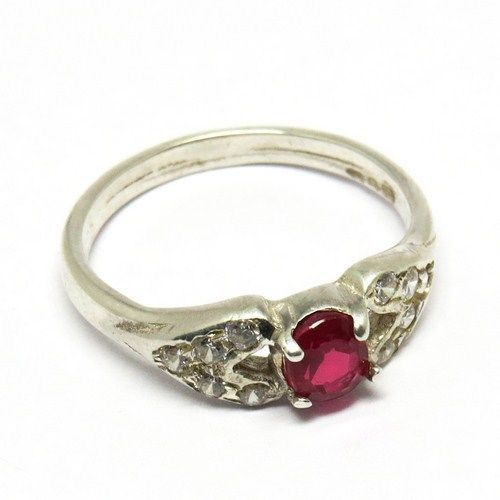 Pink CZ, White CZ Silver Jewelry Gemstone RingARCT1056-9 #Handmade