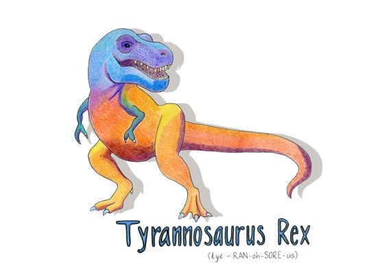 Dinosaur Tyrannosaurus Rex Print gift toddler by HelloDeerDesigns