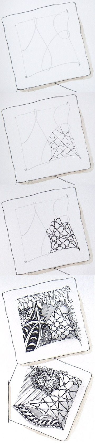 Nzeppel (using random lines, not on a grid), by Zentangle