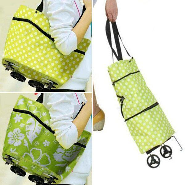 Large Lightweight Portable Shopping Trolley Wheeled Folding Festival Luggage Bag Cart Tug bag Free shipping