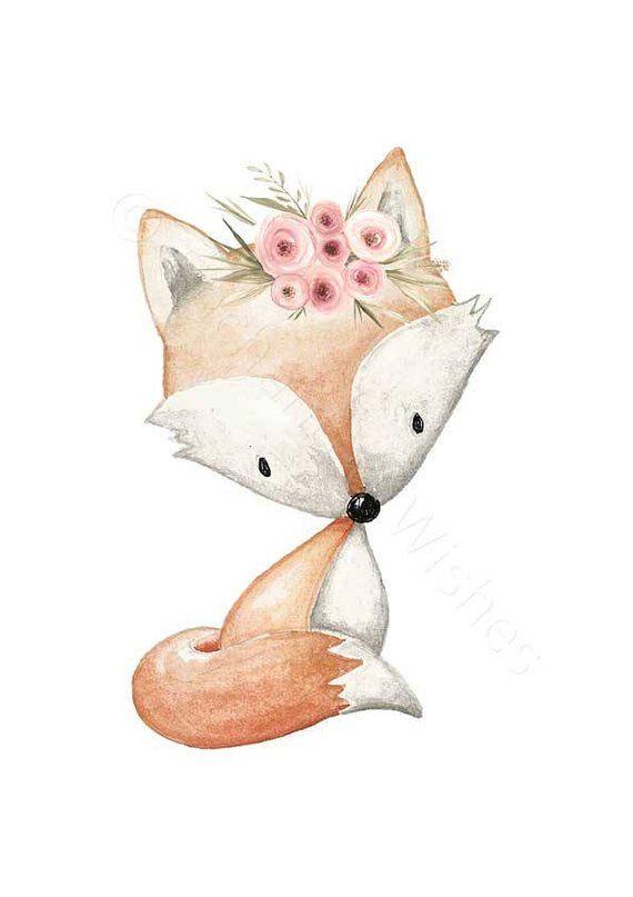 Boho Woodland Animals Set Of 4 Prints Boho Floral Animals