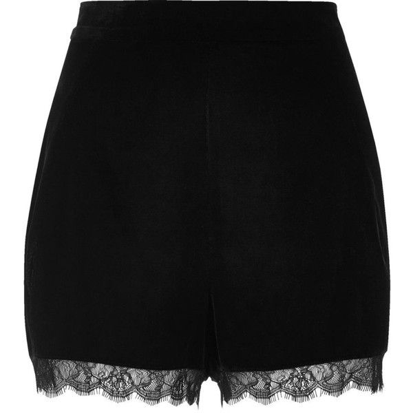 River Island Black velvet lace hem cocktail shorts ($35) ❤ liked on Polyvore featuring shorts, bottoms, evening shorts, velvet shorts, fitted shorts, river island and lacy shorts