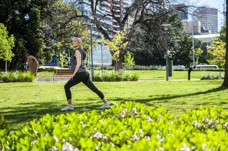 Exercising in the grounds adjacent to Crowne Plaza Adelaide
