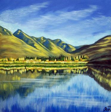 "Saatchi Online Artist Ira Mitchell-kirk; Painting, ""Lake Hayes, New Zealand"" #art"