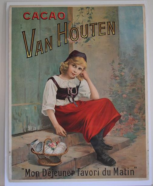 """Chocolade - Poster (Affiche) Van Houten Cacao for the French Market. Anno 1910.  It says: """"My favorite lunch of the day."""""""