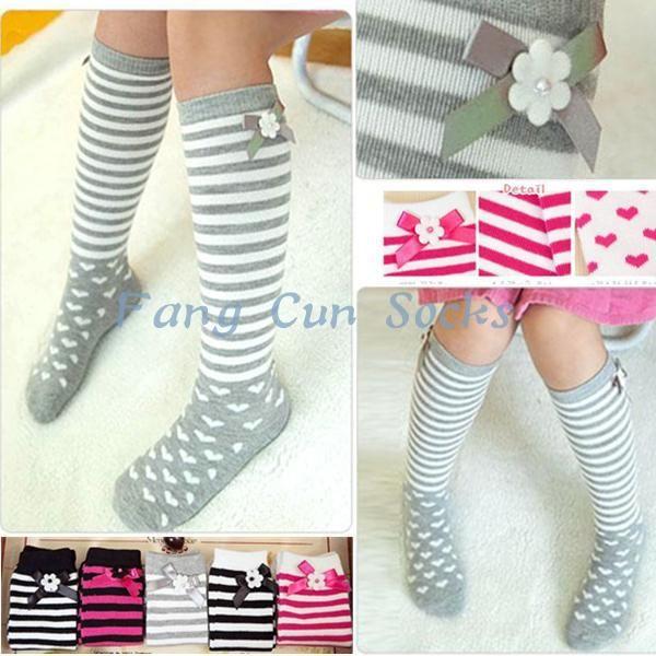DHL EMS Free Shipping Toddlers Baby Kids Princess Satin Korea Style bow Stripe Dot Long Socks Leg Warmer, Leggings 5 Colors