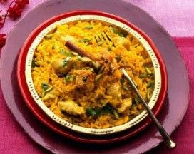 From Mauritius : Biriani de Poulet (Chicken Biriani), classic one pot dish of spiced rice and chicked in yoghurt with potatoes cooked slowly together in a pot until tender and steamed through.
