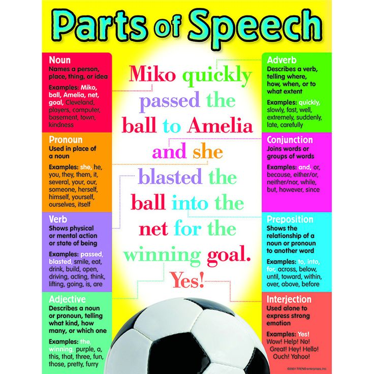 "Handy reference chart provides definitions and usage of common parts of speech. Back of chart features reproducible activities, subject information, and helpful tips. 17"" x 22"" classroom size."