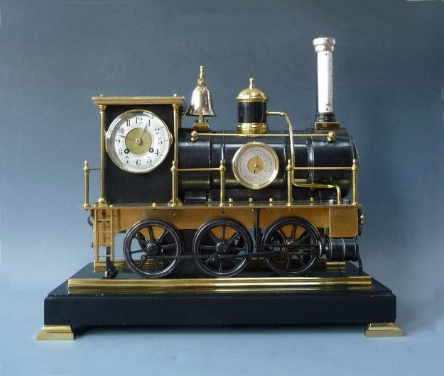 An original steampunk style locomotive mantel clock by guilmet paris france - Steampunk mantle clock ...