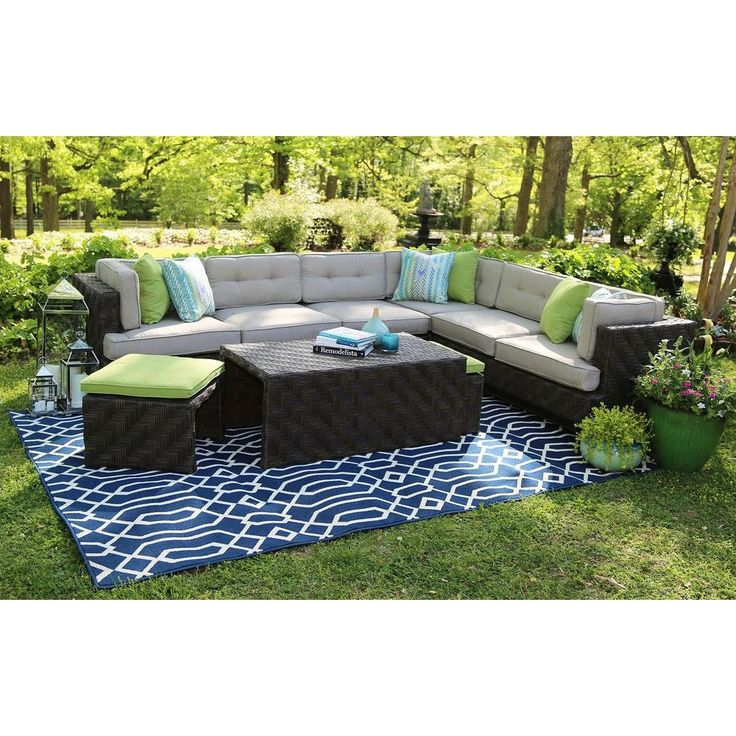 AE Outdoor Canyon 7-Piece All-Weather Wicker Patio Sectional with Sunbrella Fabric
