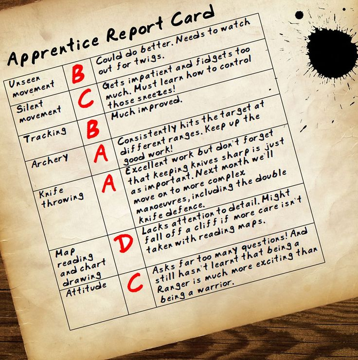 Ranger's Apprentice report card. I think that this resembles Will, slightly...