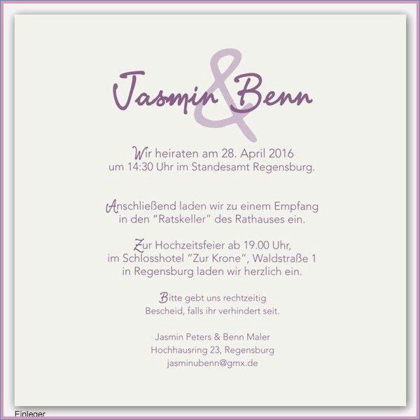 Text Einladung Hochzeit Standesamt Best Of Einladung Zur