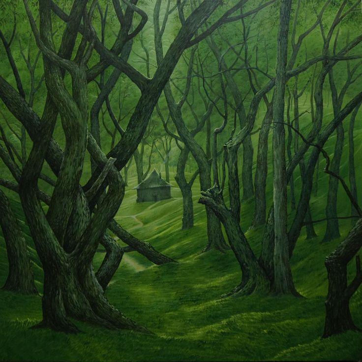 """""""En el bosque"""" acrilico sobre madera"""