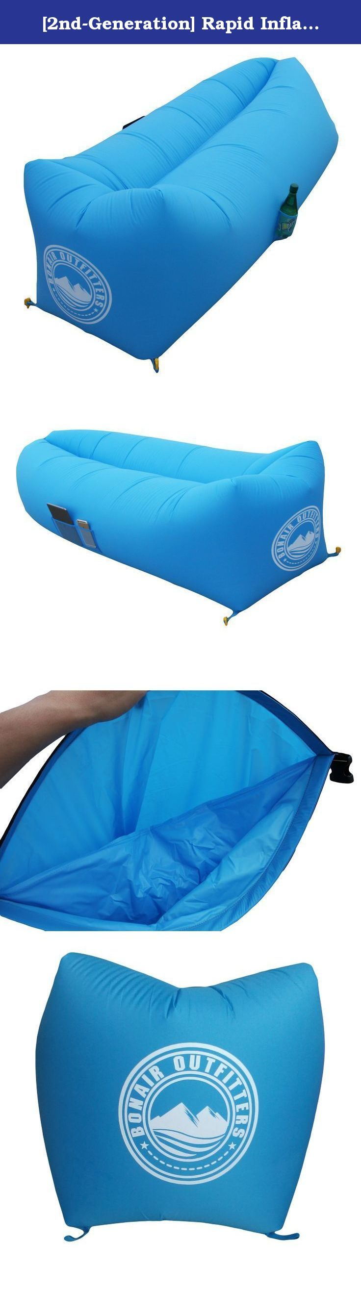 [2nd-Generation] Rapid Inflation Air Lounger With TPU-Coated Air Bladder. Lightweight Parachute Ripstop Fabric. Fold-Away Chillout Lounger, Air Hammock For Beach, Camping, Pool Party And Indoors. LOUNGE IN COMFORT AND STYLE. Pack more joy with a lighter load when you replace beach chair with Rapid Inflation WindCatcher Air Lounger. At ⅕ the weight of beach chair, Rapid Inflation WindCatcher Air Lounger is your perfect relaxation pal for the Beach, Outdoor Concert, BBQ in the Park...
