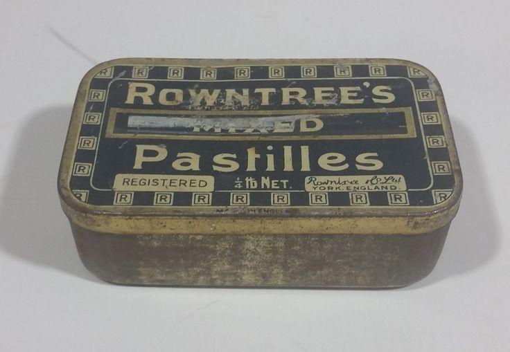 Rare Antique 1930s Rowntree's Mixed Pastilles Tin 1/4 lb Net. York England https://treasurevalleyantiques.com/products/rare-antique-1930s-rowntree-mixed-pastilles-tin-1-4-lb-net-york-england #Rare #Antiques #1930s #30s #Thirties #Rowntree #Mixed #Pastilles #Candy #Candies #Sweets #English #England #Vintage #VintageTins #Collectible #Tins #BuyNow #Collect #VisitUsToday