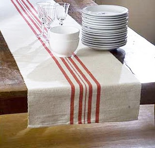 DIY French Striped Table Runner - cute blog how a bride painted these herself :D
